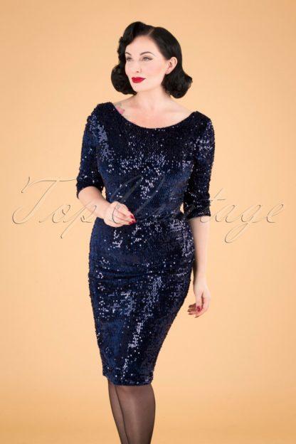 50s Arlyne Sequin Pencil Dress in Navy Velvet