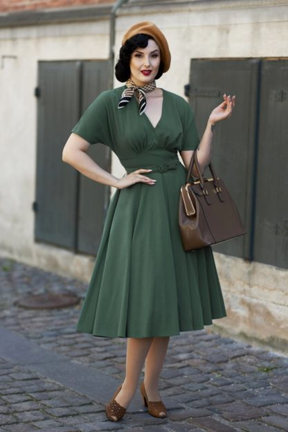50s Athena Dolman Swing Dress in Dark Green