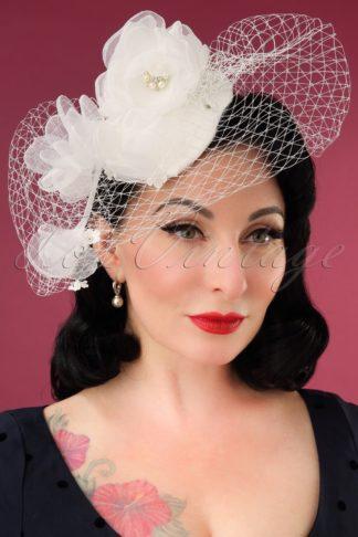 50s Audrey Birdcage Veil Hat in Ivory