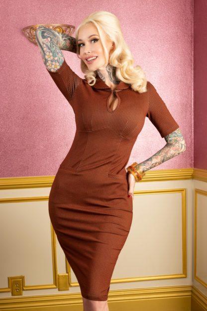 50s Audrey Bow Pencil Dress in Orange Cinnamon