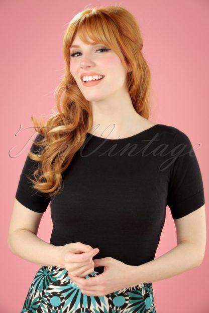 50s Audrey Cottonclub Top in Black