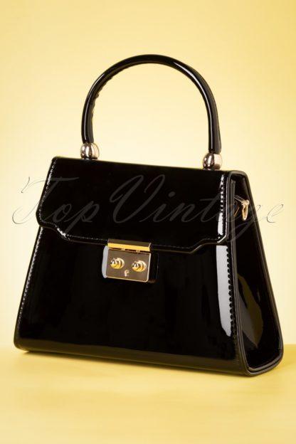 50s Back Me Up Patent Evening Bag in Black