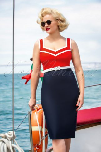 50s Barbara Pencil Dress in Red and Navy