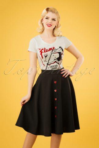 50s Be Still My Heart Thrills Swing Skirt in Black