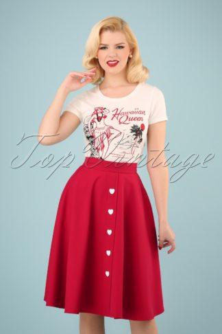 50s Be Still My Heart Thrills Swing Skirt in Red