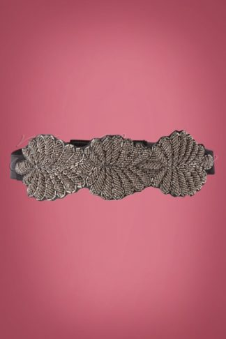 50s Beaded Leaf Belt in Black