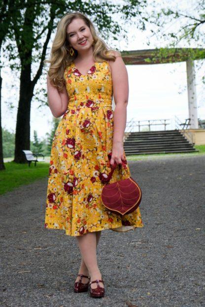50s Belle Ditsy Swing Dress in Mustard