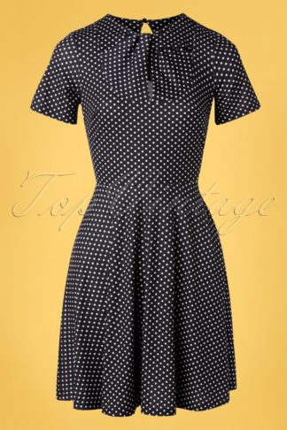 50s Bently Polkadot Jersey Skater Dress in Black
