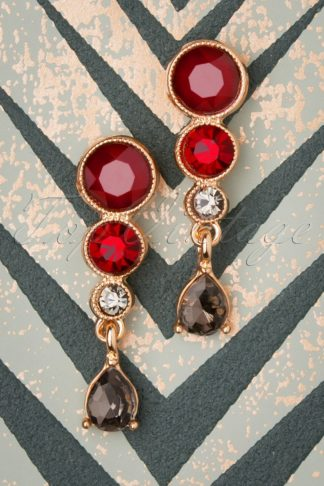 50s Bernadette Earrings in Red and Gold