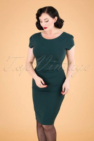 50s Bethany Pencil Dress in Forest Green