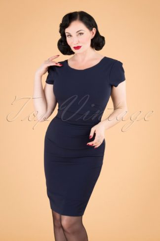 50s Bethany Pencil Dress in Navy