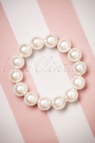 50s Betty Big Pearl Bracelet in Cream