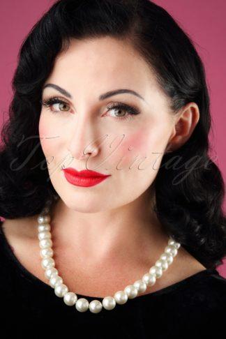 50s Betty Big Pearl Necklace in Cream