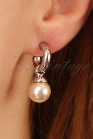 50s Betty Pearl Drop Earrings in Silver