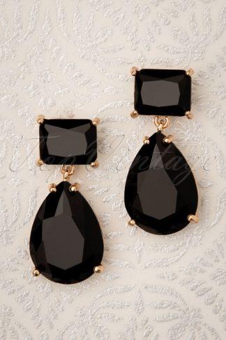50s Beverly Diamond Earrings in Black