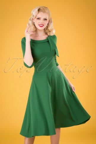 50s Beverly Swing Dress in Emerald Green