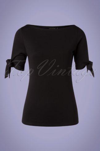 50s Bibi Basic Tie Top in Black