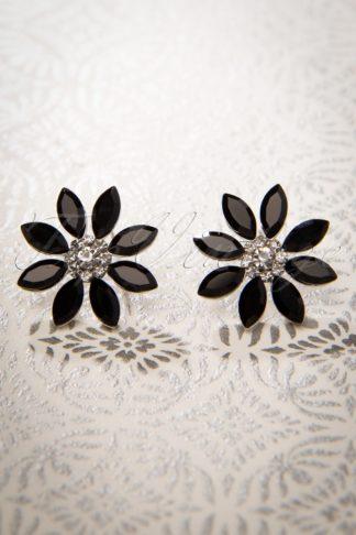 50s Black Flower Earstuds in Silver