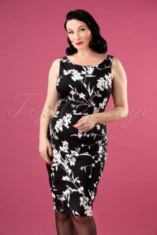 50s Bloom Pencil Dress in Black