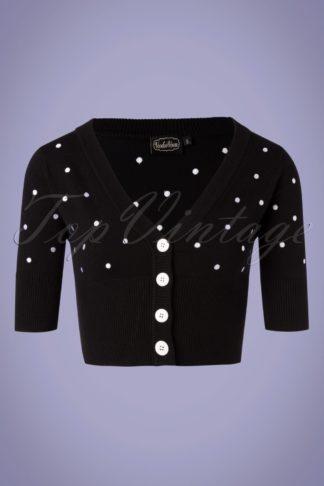 50s Bonita Polkadot Cardigan in Black