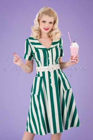 50s Brette Striped Swing Dress in Green and White