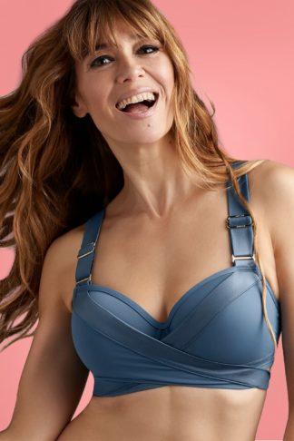 50s Cache Coeur Push Up Bikini Top in Air Force Blue