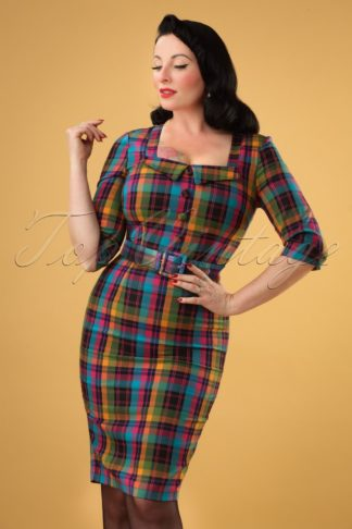 50s Camilla Plaid Pencil Dress in Multi