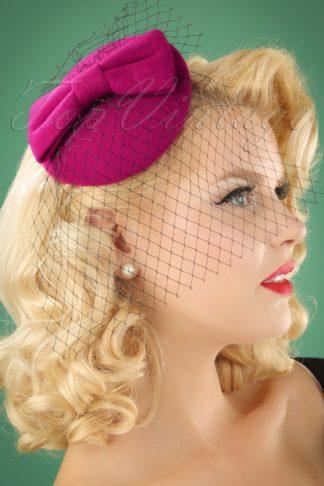 50s Candice Hat in Magenta
