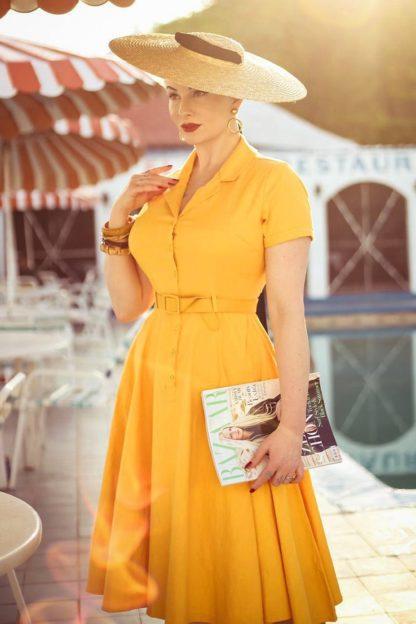 50s Caterina Swing Dress in Mustard Yellow