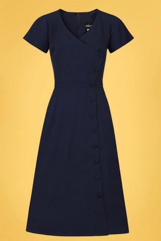 50s Cherilynn Plain Swing Dress in Navy