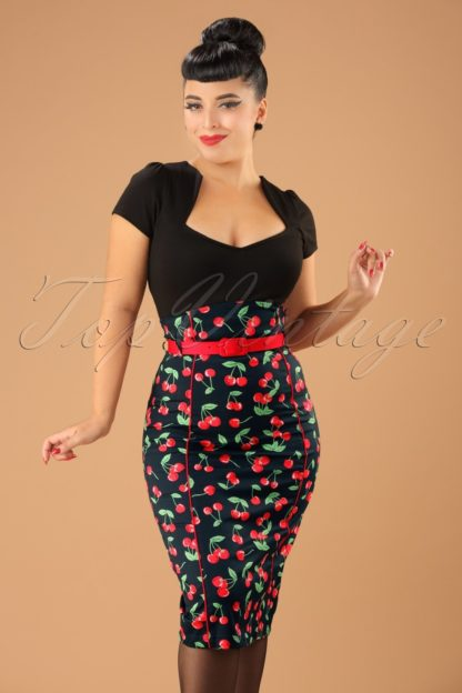 50s Cherry Pop Pencil Skirt in Black