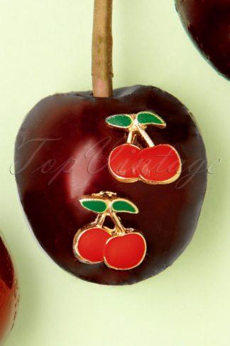 50s Cherry Stud Earrings in Red