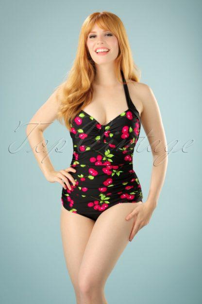 50s Cherry Swimsuit in Black