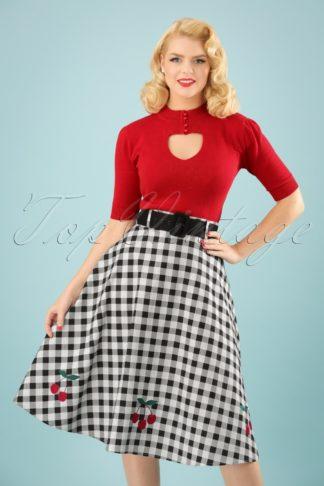 50s Cherry Vintage Gingham Swing Skirt in Black and White