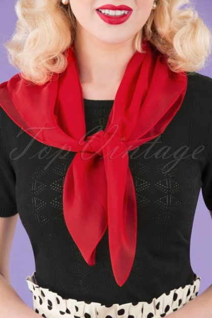 50s Chiffon Hair Scarf in Lipstick Red
