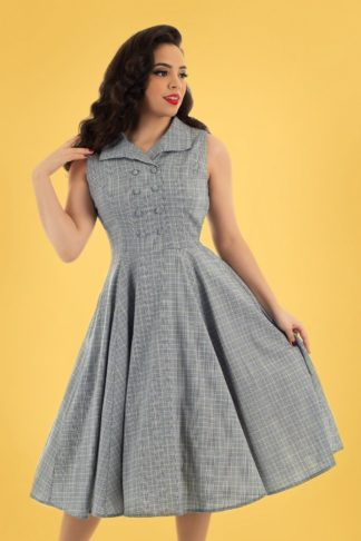 50s Christine Check Swing Dress in Grey