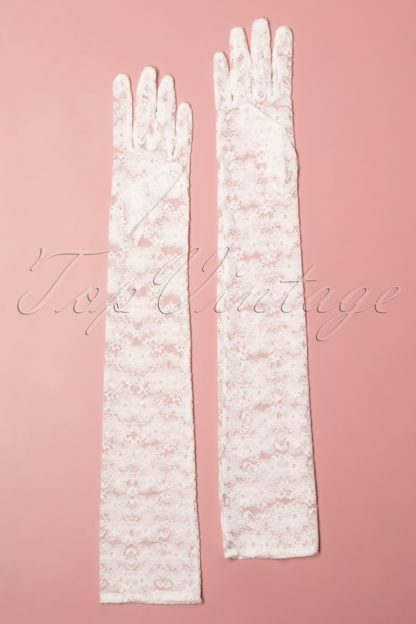 50s Christine Long Lace Gloves in Off White