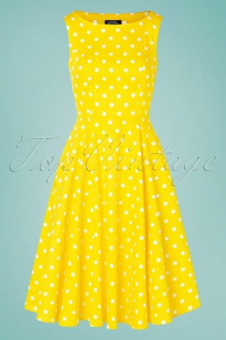 50s Cindy Polkadot Swing Dress in Yellow