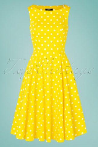 50s Cindy Polkadot Swing Dress in Yellow