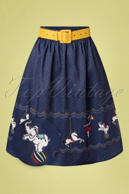 50s Circus Confetti Swing Skirt in Navy