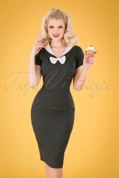 50s Clair Mini Polka Dot Pencil Dress in Black and White