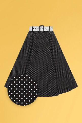 50s Clair Mini Polka Dot Swing Skirt in Black and White