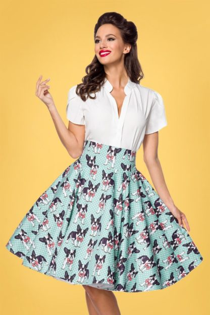 50s Claire Dog Swing Skirt in Duck Egg Blue