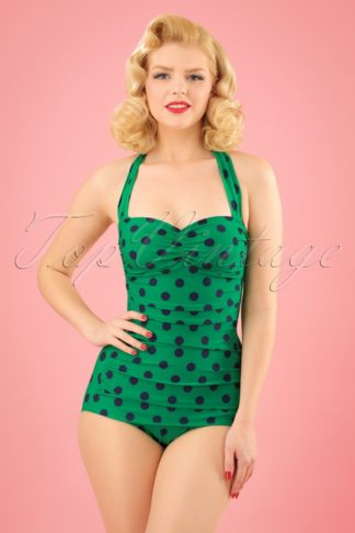 50s Classic Polkadot One Piece Swimsuit in Green and Navy