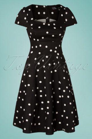 50s Claudia Polkadot Swing Dress in Black