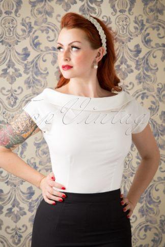 50s Cordelia Top in Ivory