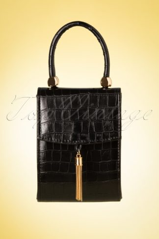 50s Croco Love Evening Bag in Black