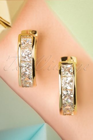 50s Crystal Earrings in Gold