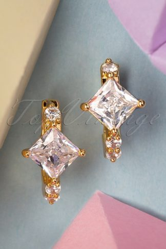 50s Crystal Stone Earrings in Gold