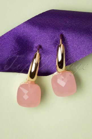 50s Cushion Cut Earrings in Light Pink